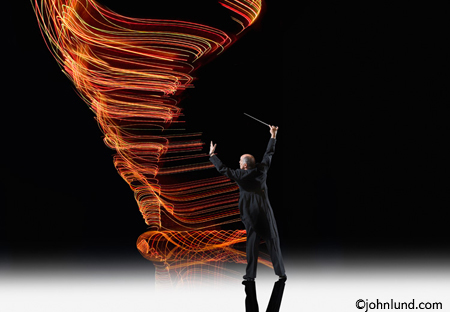 Conductor directing energy - a conceptual stock photo
