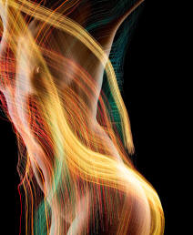 Picture of nude woman intertwined with light streaks