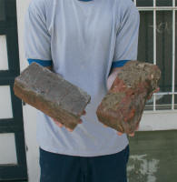 picture of man holding two bricks