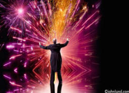 stock photo of a conductor with fireworks