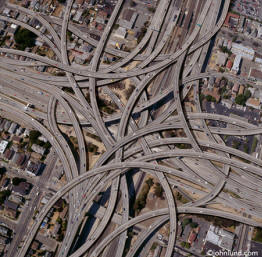 very complex freeway interchange from above