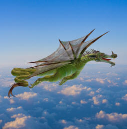 Picture of a flying dragon of Chinese descent flying at high altitude above the clouds