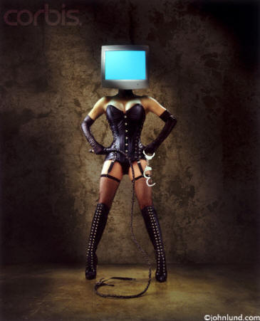 Picture of dominatrix with computer for a head