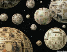 Picture of Planets in space made of money