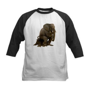 Thinker Elephant Silhouette Kids Baseball Jersey