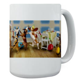 Conga Line Large Mug - Using Stock Photos for Merchandise