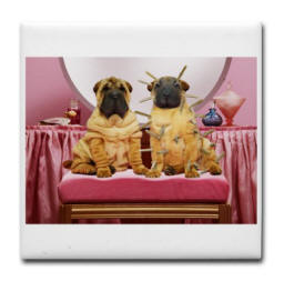Wrinkle Dogs Tile Coaster