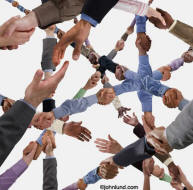 Innovative stock photo of hands clasping and forming endless chains of connection representing social media and networking