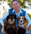 Photo of Patty Meyer of Blodhound with her two dogs
