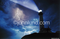 Picture of a lighthouse in a lightning storm.