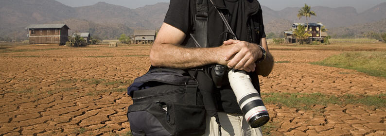 picture of stock photographer with camera equipment