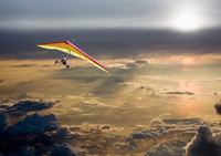 Flying in the sky in an ultralight aircraft - an adventure stock photo