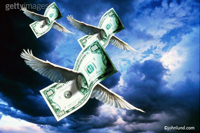 flying money - a concept stock photo