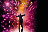 stock picture of a conductor conducting a fireworks like display of energy