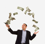 Picture of man with money flowing out of his phone for use as a stock photo