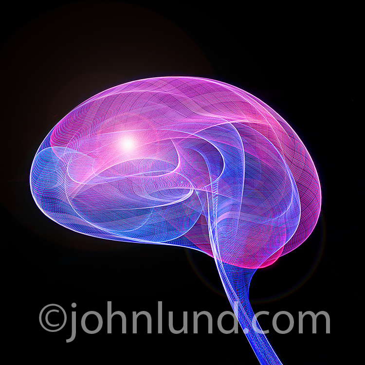 Active brain ideas are illustrated in this stock photo of light patterns in the shape of a human brain.