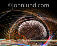 Picture of a human brain surrounded by brain waves, thoughts, ideas and connections indicating creativity, intelligence and brain research.