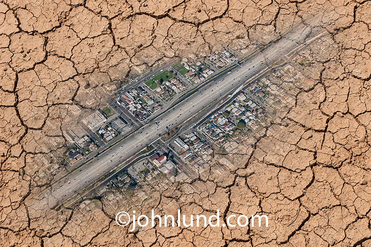 This unique aerial drought image brings attention to water issues such as scarcity and distribution in a visually arresting manner.
