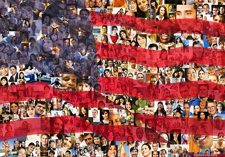 This image of the American Flag combined with a background of faces is great for illustrating concepts such as social media connections, demographics and immigration issues.