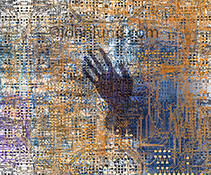 Artificial intelligence: A human hand appears ghost like inside a complex array of computer circuitry in a AI stock photo to illustrate issues and concepts surrounding artificial intelligence.