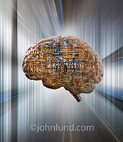 This artificial intelligence stock photos features a human brain combined with computer circuitry against a futuristic backdrop of architectural elements.