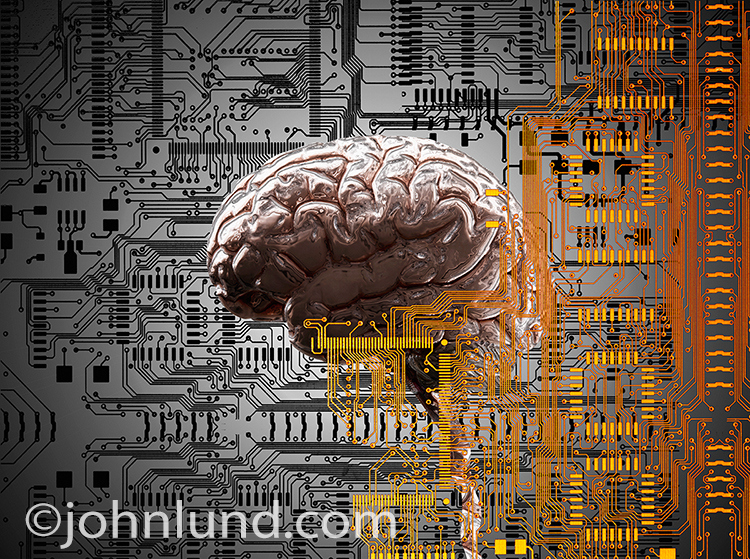 Artificial intelligence, future technology, and brain research are all visually illustrated by this photo.
