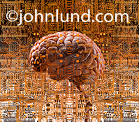 Artificial intelligence: A human brain is surrounded by complex computer circuitry in an image that also communicates the future, technology and the way forward.