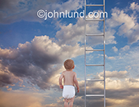 A baby in diapers stands before a ladder that symbolizes opportunity, exploration and curiosity. The background is a summer sky with light puffy clouds.