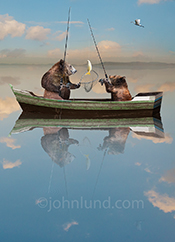 A father bear and his bear cub catch a fish on a still lake in a funny anthropomorphic bear image.