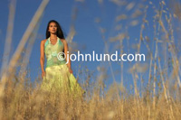 Picture of a beautiful hispanic woman standing in a field of dry grass with the camera looking up at her from ground level. She has on pretty flowing yellowish greenish dress and is looking into the distance. Latina woman standing in tall grass.