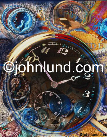 Stock photo picture of a pocket watch and money. Great for use as a background.