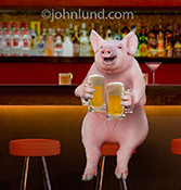 A pig sits on a stool in a bar with a mug of frothy beer in each hand in this funny animal picture created for a humorous greeting card and available as a stock photo image.