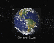 The planet earth is composed of pillars in an image about global big data in this unique concept stock photo.