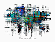 Big data on a global basis is illustrated with this stock photo of a map of the continents with a digital overlay mapping information in a dramatic fashion.