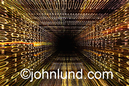 A corridor of binary numbers and streaking lights visually demonstrate concepts such as bandwidth, big data transmission and networking in a colorful and dynamic stock photo.
