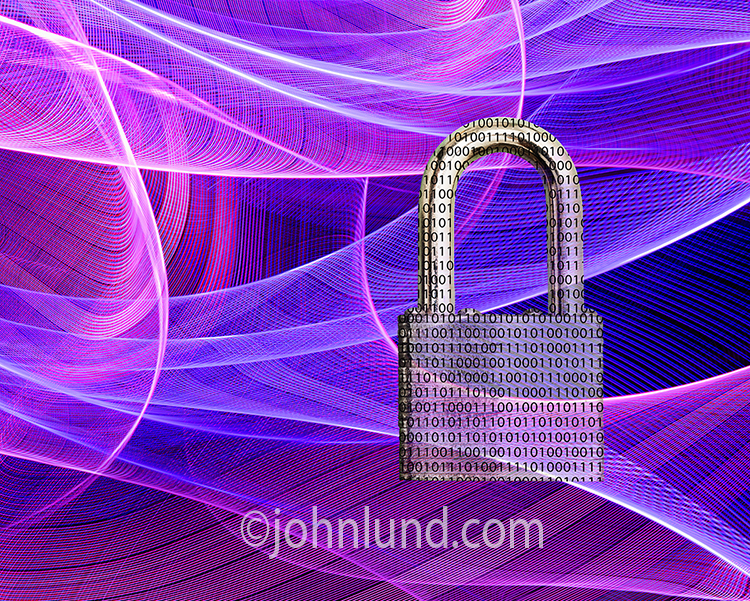 A binary padlock shows cyber security in the midst of blue-magenta light trails representing networks, data transmission and Internet use.