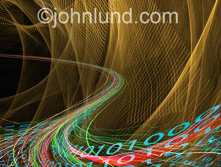 Big data,streaming data, and communications technology are all illustrated with this colorful stock photo of streaking lights and binary numbers.