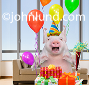 A funny pig wears a party hat and holds a noise maker as he stands amid balloons and gifts at a birthday party in an image created for a humorous greeting card.