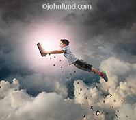 A young boy soars through the clouds hanging onto a book and trailing letters behind in a stock photo about the possibilities and adventures available through books.
