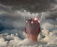 The back of a person's head is seen rising up through the clouds where it is being struck by numerous lightning bolts in a metaphorical image about brainstorming, creativity and ideas.