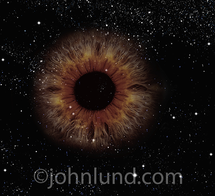 A giant iris of an eye floats in outer space among the stars in a stock photo about mystery, spirituality, God, and the omnipotent presence of a being greater than ourselves.