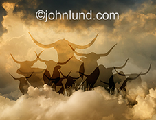 A heard of silhouetted bulls stampede through the clouds in a concept photo about bull markets and investment opportunities, cloud computing, and online finance.