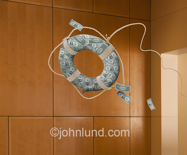 Business loans, capital infusion, and cash flow solutions are all brilliantly illustrated in this image of a life ring or preserver, made of money, sailing out through a business lobby.