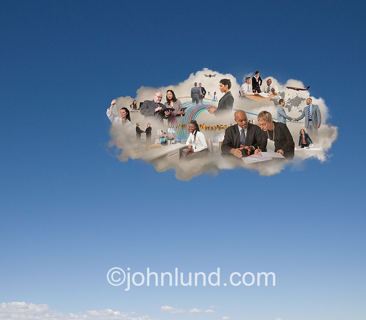 A series of business scenes featuring men and woman engaging in business activities with in a solitary cloud in the sky is seen in this stock photo about cloud computing, digital teamwork and networking.