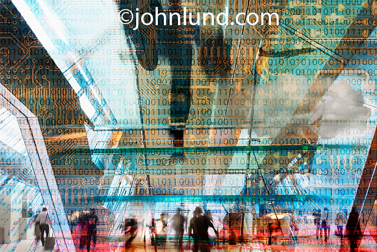Business on the go in our fast-paced high tech world is illustrated in this multi-layered photograph using elements of travel, technology, and people in a rich tapestry of color and motion.