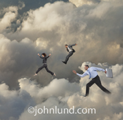 Business people run and leap through the clouds in this photo about cloud computing, online connections and networking in a digital environment.