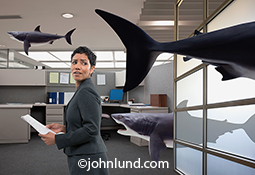 A woman executive looks in apprehension over her shoulder as sharks swim around her in a corporate office setting illustrating stock photo concepts such as risk, danger and threats.