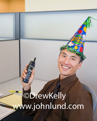 Funny Picture of a Chinese American Man Wearing a Happy Birthday