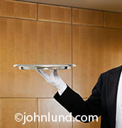 An empty silver tray is held out by an unseen butler while in a richly wooden paneled room in a photo metaphor for service and success.