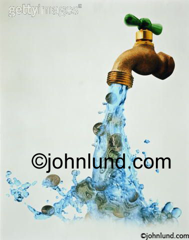 Picture of a faucet with cash flowing out. The brass faucet has a green handle. This cash flow stock photo is great for illustrating various financial concepts centered around cash flow.